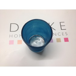 Photophore verre mat turquoise