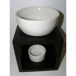 Brûle-parfum carré noir et céramique blanc