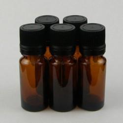 Lot de 5 flacons verre jaune avec compte gouttes huiles essentielles