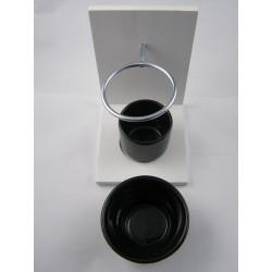 Brûle-parfum bois blanc et céramique noir