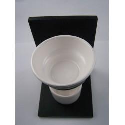 Brûle-parfum bois noir et céramique blanche