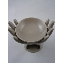 Brûle-parfum céramique mains beige