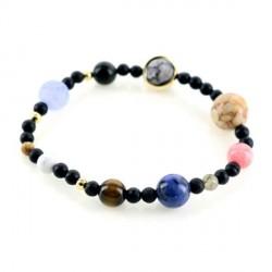 Bracelet de pierres naturelles représentant le système planétaire