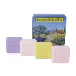 Boîte métal Provence 4 savons de 100 g