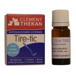 Tire tic accompagné d'un flacon de 10 ml d'huile essentielle de tea tree
