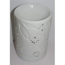 Brûle-parfum céramique blanc rond tiges et feuilles vue dessus