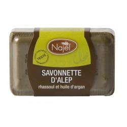 Savonnette d'Alep rhassoul et huile d'argan 100 g
