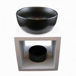 Brûle-parfum carré blanc céramique noir vue face